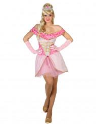 Seksikäs satuprinsessan vaaleanpunainen mekko naisille