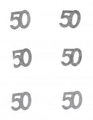 Hopeiset konfetit 50 v, 6 kpl