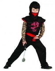 Musta ja punainen ninja-asu lapsille