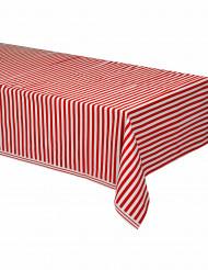 Punavalkoraidallinen pöytäliina 137 x 274 cm