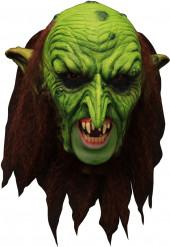 Pelottava vihreä peikkonaamio ja hampaat