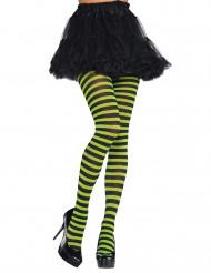 Aikuisten vihreä-musta raidalliset sukkahousut