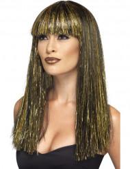 Naisten egyptiläistyylinen peruukki pitkillä mustankultaisilla hiuksilla