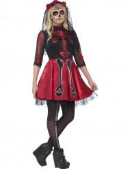 Punainen luuranko Halloween-asu nuorille