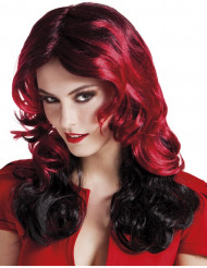 Puolipituinen mustapunainen peruukki naiselle