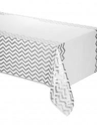 Muovinen pöytäliina valkoinen/hopea 137x274 cm