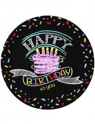 Konfettiprintillä koristellut Happy Birthday -kartonkilautaset 23 cm - 8 kpl