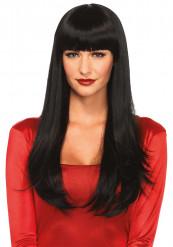 Naisten musta peruukki pitkillä hiuksilla ja otsatukalla
