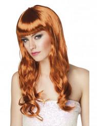 Kuparinvärinen pitkä naisen peruukki