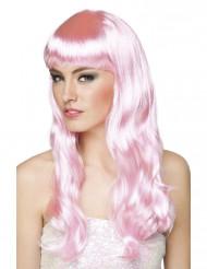 Pitkä vaaleanpunainen peruukki aikuisille