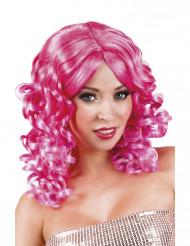 Naisten kihara pinkki peruukki