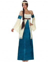 Keskiaikainen sinenen ja valkoinen linnanneito -asu naisille