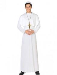 Miesten valkoinen naamiaisasu paavi