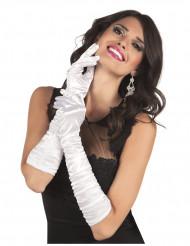 Valkoiset satiiniset hanskat naiselle