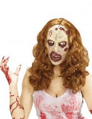Aikuisten Halloween zombie peruukki ja naamari