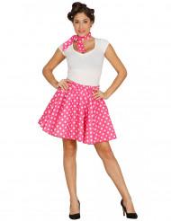 Vaaleanpunaiset 50-luvun hame ja huivi aikuiselle