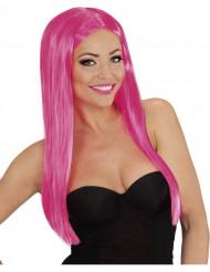 Naisten glamour-peruukki pitkillä neonvaaleanpunaisilla hiuksilla