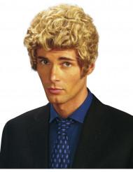 Lyhyt blondi kihara peruukki aikuisille