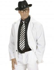Aikuisten musta-valkoraidallinen kravatti