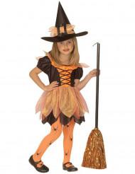 Pienen noidan oranssi naamiaisasu tytölle halloween