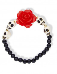 Pääkallorannekoru punaisella ruusulla