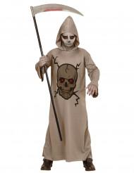 Pääkallokuvioitu viikatemiehen naamiaisasu lapselle halloweeniin