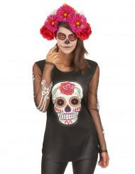 Kirjava luuranko-paita Día de los muertos naisille
