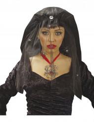 Musta, hämähäkein koristeltu aikuisen huntu halloweeniin