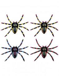 Neonväriset Halloween-hämähäkit 7,5 cm - 4 kpl