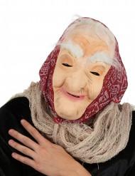 Naisten noidan naamari hiuksilla ja huivilla