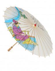 Kiinalainen päivänvarjo samurai painatuksella