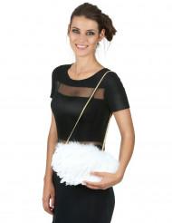 Valkoinen höyhenlaukku 20 x 30 cm