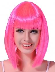 Naisten peruukki Hohtava vaaleanpunainen keskipitkä polkka
