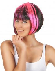 Naisten polkkamallinen raidoitettu peruukki, musta/pinkki