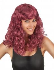 Naisten puolipitkä punaisenruskea peruukki aaltomaisilla kiharoilla