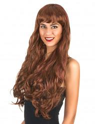 Ruskea, pitkä peruukki naiselle