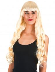 Naisten peruukki pitkät vaaleat laineet otsatukalla
