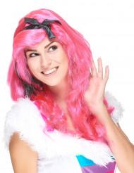Pitkä vaaleanpunainen peruukki