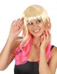 Peruukki, liukuväri (blondi/pinkki)
