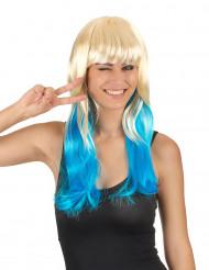 Vaalea perukki siniset latvat