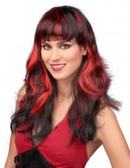 Naisten musta peruukki punaisilla raidoilla ja otsatukalla