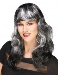 Halloween pimu - Naisten musta peruukki valkoisilla raidoilla