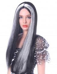 Naisten mustavalkoinen peruukki 60cm