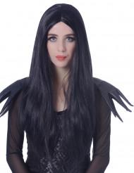 Naisten peruukki pitkät mustat hiukset - 60 cm
