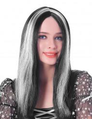 Naisten mustavalkoinen peruukki45cm