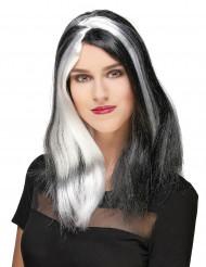 Mustavalkoinen peruukki,pitkä