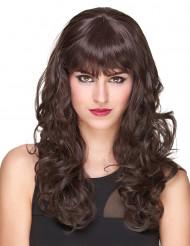Naisten Premium-peruukki punaruskeilla kiharoilla ja otsatukalla - 221 g