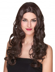 Naisten peruukki pitkät ruskeat kiharat - 251g