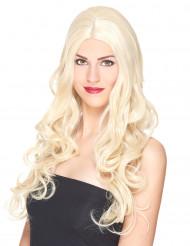 Naisten vaalea peruukki kiharoilla, luksus