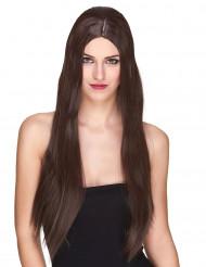 Naisten kastanjanruskea peruukki, ekstrapitkä